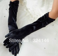 Own factory made Factory price Long 38cm noble Black color cheap pearl wedding Gloves finger gloves