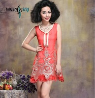 Summer 2013 new ladies' luxury dress round collar embroidered skirt full-skirted dress black red dresses