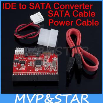 NEW IDE HDD to SATA Serial ATA Converter Adapter+SATA /Power Cable Black Free Shipping 10pcs/lot
