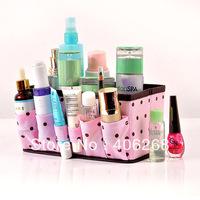free shipping wholesale cheap!!!Pink polka dot thickening desktop cosmetics storage box