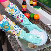 free shipping wholesale cheap !! warm type Household clean gloves plus velvet flower flock printing gloves washing gloves