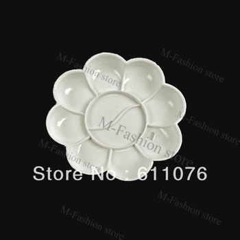 New 5pcs White Acrylic Color Mixing Palette Draw Nail Art Palette Dish Flower Freeshiping 5843