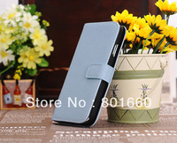 Free Shipping Flip Cover PU Leather Color Thin Back Case For Samsung Galaxy S4 S IV I9500 + Film 30pcs/lot