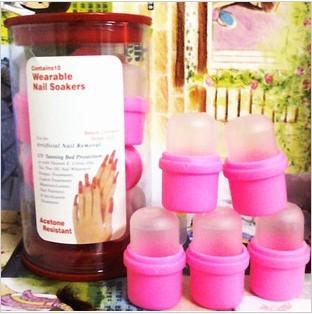 Free Shipping 50pcs Wearable Salon DIY Acrylic UV Gel Nail Polish Remover Soak Nail Soakers Cap Tool