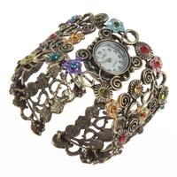 Fashion Lady Women Girl Crystal Vintage Bangle Bracelet Quartz Wrist Watch Gifts