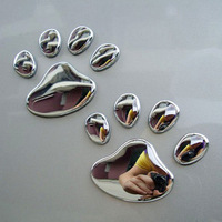 free shipping 1pcs Car body stickers bear paw silver 3d personalized stereo car stickers pure metal stickers