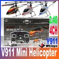 Newest WL Toys V911 2.4G 4CH Single Blade Gyro RC MINI Outdoor Helicopter With LCD and 2 Batteries with Color box Free Shipping