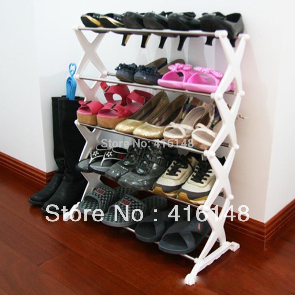 Heavy duty streel tube foldable organizer 5-Tier Shoe Rack footware storage(China (Mainland))