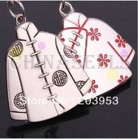 Alloy chinese retro costume clothes keychain creative couple lovers key ring advertising gift keychain can custom logo
