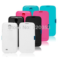 newest Folio PU Leather Case Plastic Cross Skin Cover Holster For Samsung Galaxy S4 SIV i9500 colorful  Free shipping 10pcs/lot