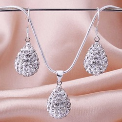 Free Shipping 925 Sterling Silver Jewelry Set Fashion Rhinestone Crystal Shamballa Jewelry sets Disco Necklace Earring SBS028(China (Mainland))