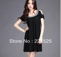 Free shipping!2013 summer fashion loose  handmade beading elegant strapless one-piece  evening o-neck ruffle dress