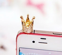Min.order is $10 (mix order) Fashion Jewelry Cute Acrylic Crown  Moblie Chain Dust Plug