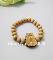 Hip-hop Style Rose Hemu Beads +Egyptian Pharaoh Bracelet, The King Good Wood,Best Gift GW-018