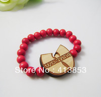 Hip-hop Style Rose Hemu Beads +WU-TANG Bracelet, Good Wood,Best Gift GW-020