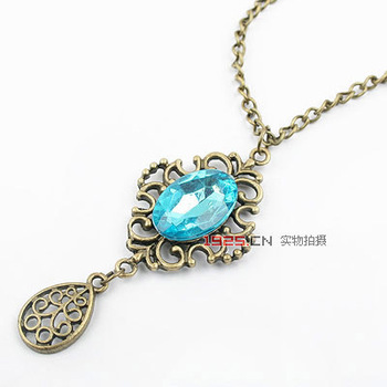 Free Shipping!Wholesale Fashion Jewelry exquisite European Retro Blue gem water drop crystal Pendant Necklace sweater chain A015
