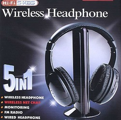5 in 1 HIFI Wireless headphone Earphone Headset wireless Monitor FM radio for MP4 PC TV audio,free shipping(China (Mainland))