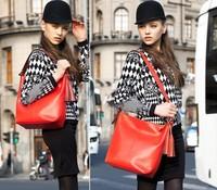 2013 New Fashion Shoulder Bag Women's Tassel Messenger Bag Authentic Cow Leather Design,Free Shippig
