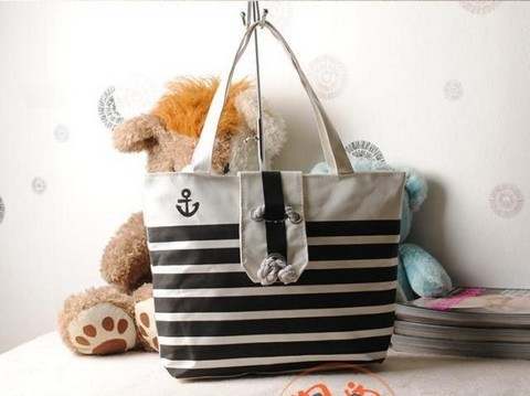 2013 New Zebra Plaid Handbag Environmental Protection Shopping Bag Casual Totes Shoulderbag Canvas Bag Navy Style Wholesale(China (Mainland))