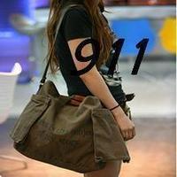 2013 women's casual canvas bag fashion messenger bag Army Green women's handbag