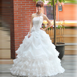 Free shipping!2013 Hot Sale Real Picture Organza Ruffle Wedding Dress/Bridal Gown.(China (Mainland))
