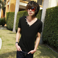 2013 summer personalized t-shirt button decoration slim all-match men's V-neck T-shirt male short-sleeve