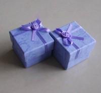 Free Shipping 4x4x3cm Purple Jewelry Packaging Ring Earring Gift Box 24pcs/lot