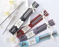 Free Shipping~~12 pairs East Meets West Stainless-Steel Chopsticks wedding Favors gift
