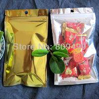 "100pcs 14x20cm=5.5x8"" Brilliant Gold Composite aluminum zipper lock pouch Damp-proof bag+ Hole  freeshipping"