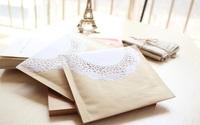 Free Shipping Wholesale 50pcs/Lot 12x14cm Kraft Paper Lace Bubble Envelope Jewelry Packaging Bag Zakka Retro Packaging