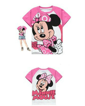 girls Minnie t shirt Print summer Cartoon Short Sleeve clothing Children kids clothing 6pcs/lot Size 95-140cm