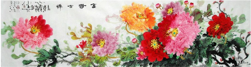 Free shipping Oriental Asian Original Traditional Chinese painting Peony100% hand painted From famous Artist abstract flowers04(China (Mainland))