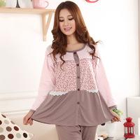 Free ShippingSpring and Autumn Lace Floral Polka Dot Cardigan wholesale pajamas women elegant long-sleeved pajamas cotton clothe