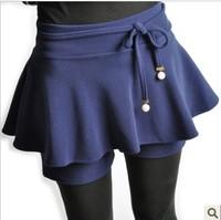 2013 xiaxin faux two piece high waist short skorts ruffle culottes pleated female