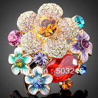 Free Shipping High Quality  Imitation Diamond Colorful Flower Finger Ring