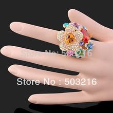 High Quality Austrian Crystal 18 K Gold Plated Fashion Imitation Diamond Ruby Zircon Wedding Ring