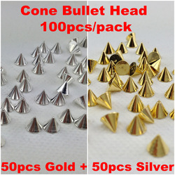 100pcs/pack Punk Rock Metal Alloy Gold&amp;Silver Cone Bullet Head Spike Studs Rivet Salon 3D Nail Art Tips Phone Design Decoration(China (Mainland))