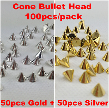 100pcs/pack Punk Rock Metal Alloy Gold&Silver Cone Bullet Head Spike Studs Rivet Salon 3D Nail Art Tips Phone Design Decoration