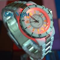 2014,Fashion OHSEN Mens Womens Fashion Sport 7 Color Backlight FlashLight Analog Hands White Band Quartz  Wrist Watch FG-0736-2