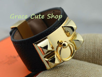 Girl Punk Bracelet Rock And Roll Style PU Leather Materal Wide Size With Metal High Quality Original Package #H32-Black