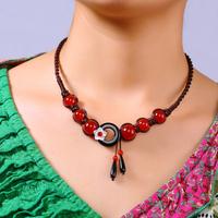 Original Elegant Handmade Vintage Accessories Women Red Agate Black Circle Shell Flower Tassels Choker Necklace Free Shipping
