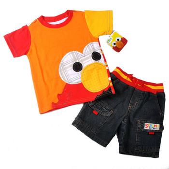 2013 Summer New Children Boy's  Brand Clothes Toddler Clothes Cartoon Short Sleeve T-shirt+Denim Shorts 2pc sets clothing sets