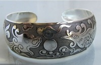 "New Tibetan Tibet Silver Totem ""Dragon and Flaming Pearl"" Bangle Cuff Bracelet"