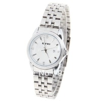 Eyki Men's Watch with Diamonds and Strips Hour Marks Round Dial Steel Band,Free shipping