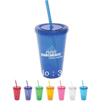 16oz plastic tumbler with straw,24oz arcylic double wall tumbler