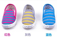 Wholesale- Free shipping baby shoes cotton-made shoes child stripe canvas shoes