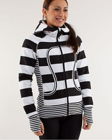 Free shipping lululemon scuba hoodies yoga jacket lulu lemon women Athletic coat big stripe black grey gray 2 4 6 8 10 12