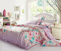 free shipping Double faced tencel piece set tencel bed sheet duvet cover bedding used(China (Mainland))