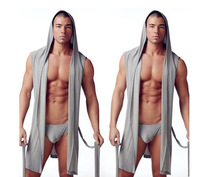 Free shiping Male sleeveless with a hood robe silky lounge pants male sleepwear lounge loose casual lacing