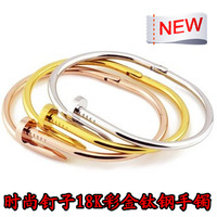 Fashion new arrival yeh nails bracelet female high quality 18k color gold titanium hand ring